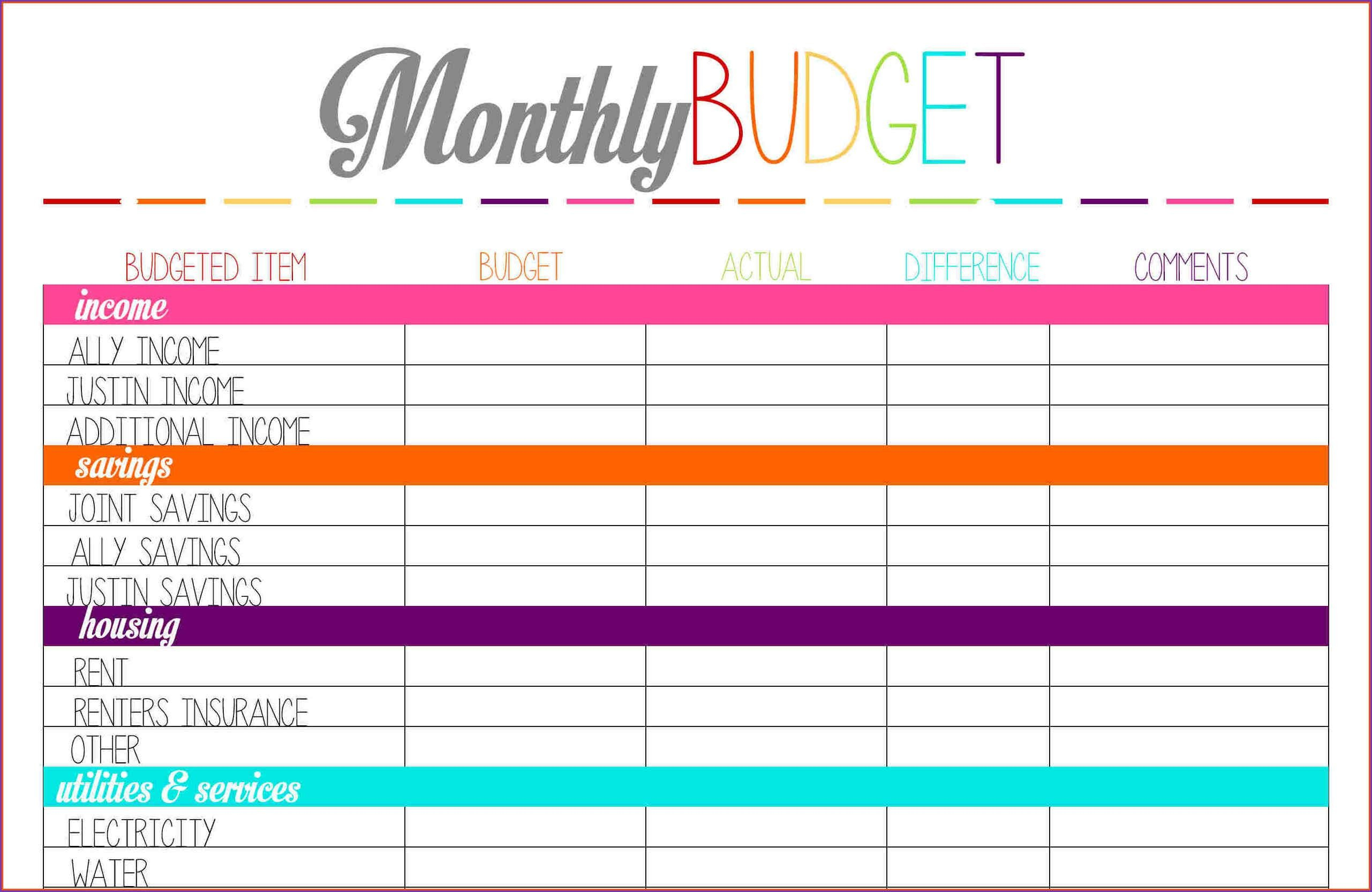 012 Printable Budget Worksheet Template Plan Unforgettable Templates Along With A Monthly Budget Worksheet