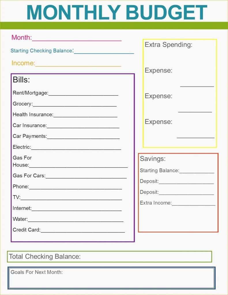 015 Free Printable Budget Templates Sample Documents Best Of Monthly In Printable Budget Worksheet For College Students
