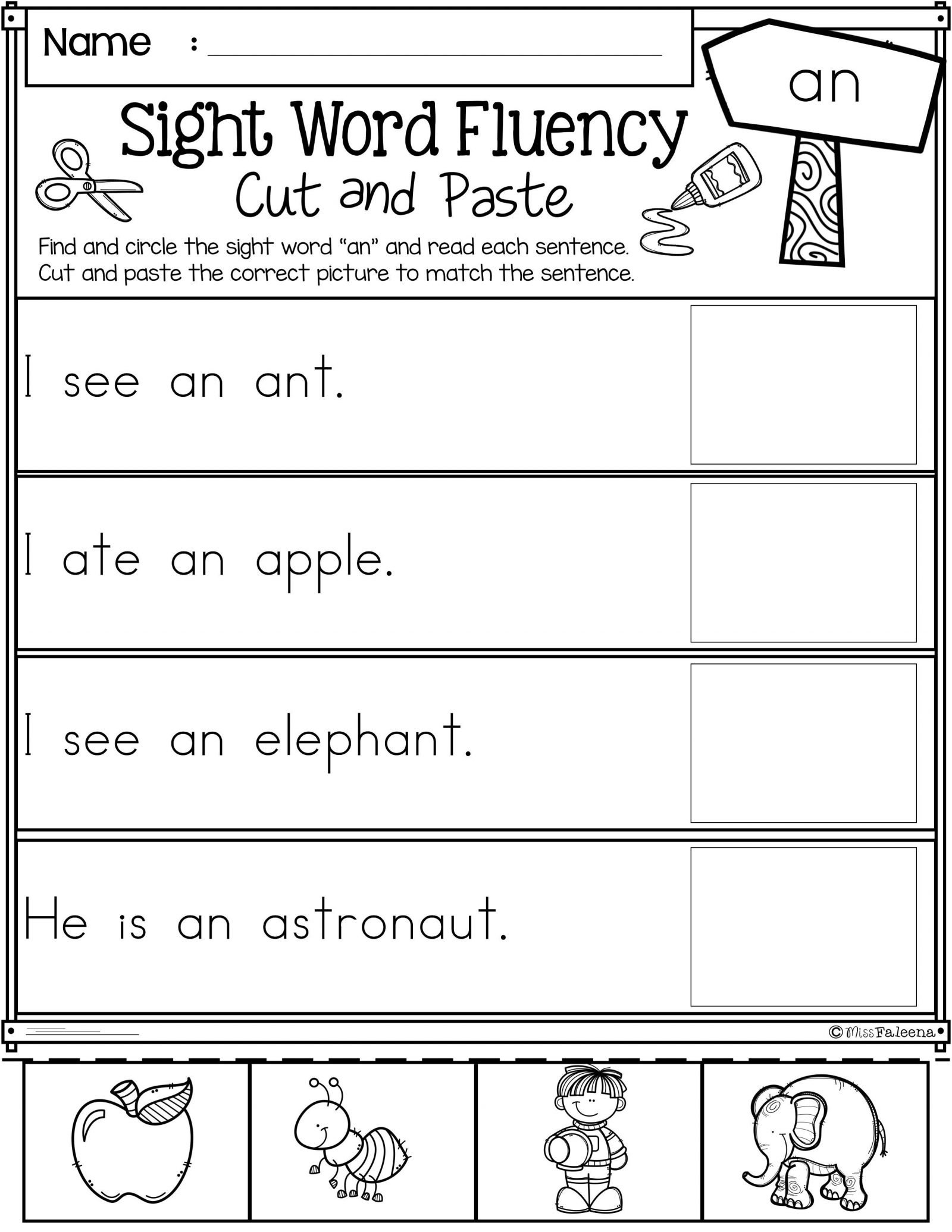 038 Sight Word Fluency Cut And Paste First Grade Teaching For Cut And Paste Worksheets For Kindergarten