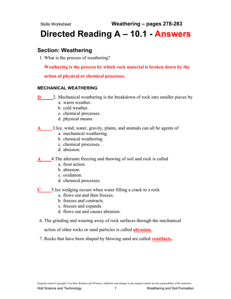 10 1 Directed Reading Answer Key throughout Soil Formation ...