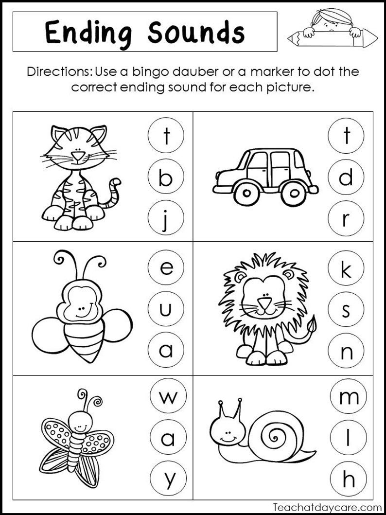 10 Printable Ending Sounds Worksheets Preschool1St Grade Phonics And  Literacy In Ending Sounds Worksheets For Kindergarten