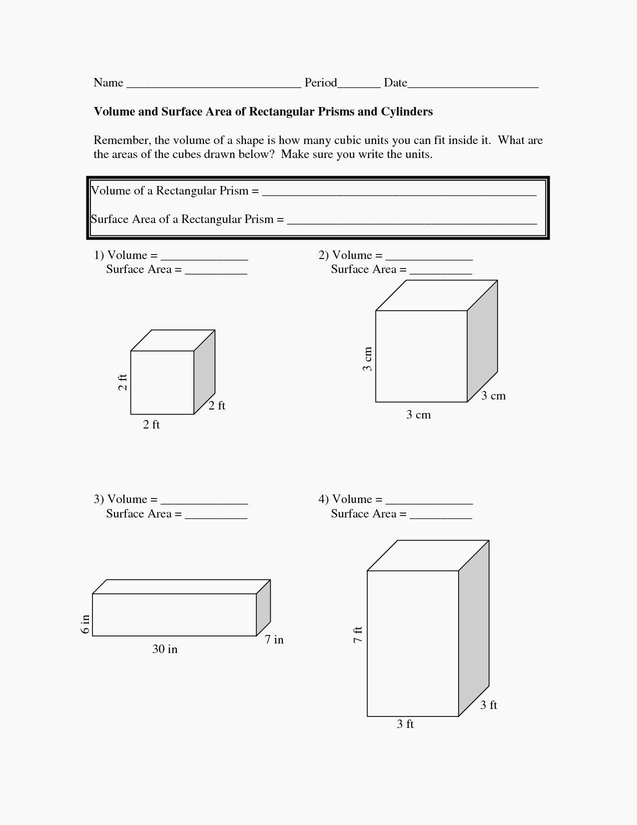 11 2 Surface Areas Of Prisms And Cylinders Worksheet Answers Intended For 11 2 Surface Areas Of Prisms And Cylinders Worksheet Answers