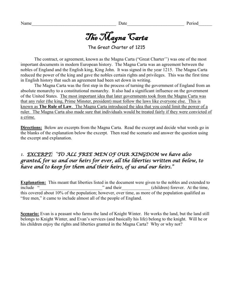 11 Magna Carta Primary Source For Magna Carta Worksheet