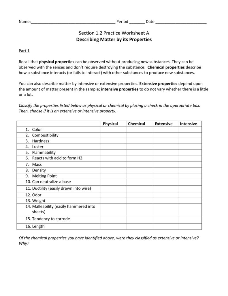 12 Practice Wkst A Describing Matterits Properties Pertaining To Properties Of Matter Worksheet Answers