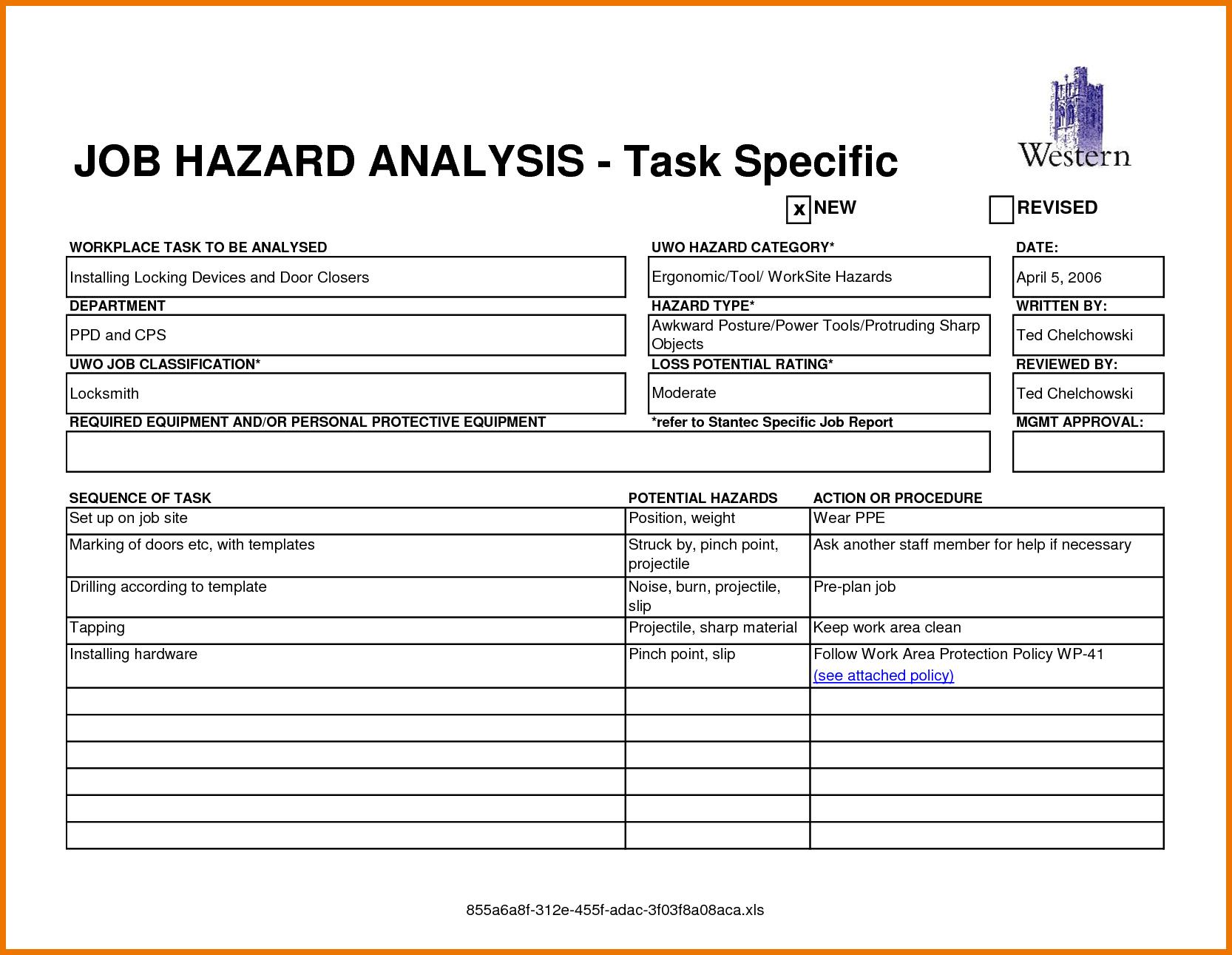 13 Job Safety Analysis Examples  Pdf Word Pages  Examples With Regard To Job Hazard Analysis Worksheet