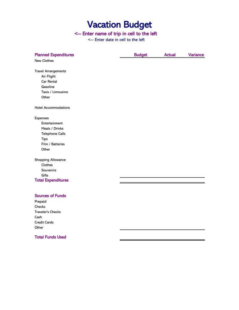14 Travel Budget Worksheet Templates For Excel And Pdf Intended For Travel Budget Worksheet