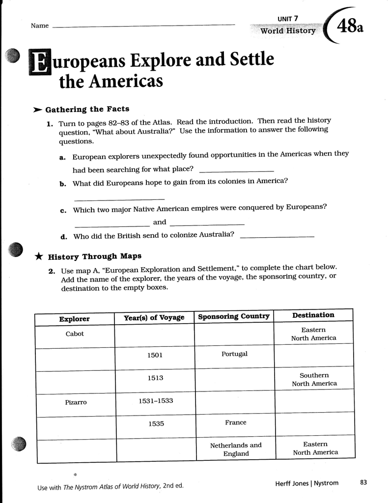 15 Atlas 48 Europeans Explore And Settle The Americas With Nystrom Atlas Of Us History Worksheets Answers