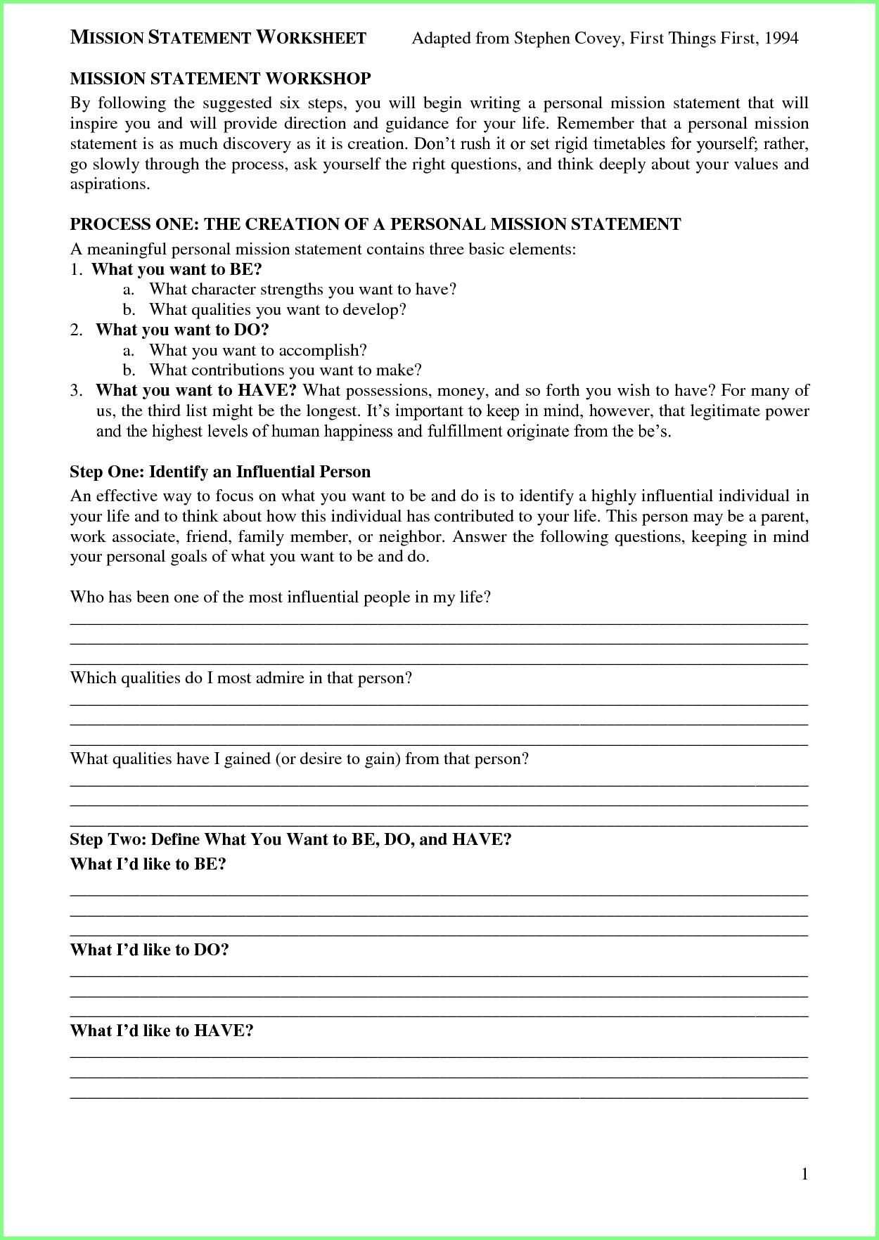 15 Personal Mission Statement Worksheet  Notice Intended For Family Mission Statement Worksheet