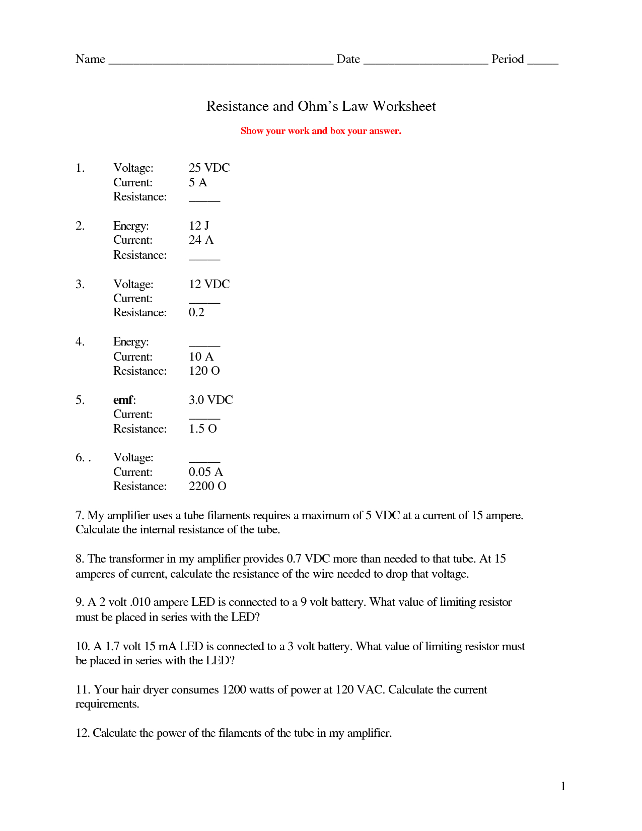 19 Best Images Of Which Law Worksheet Answers Gas Laws Ohms Law Also Ohm039S Law Worksheet Answers