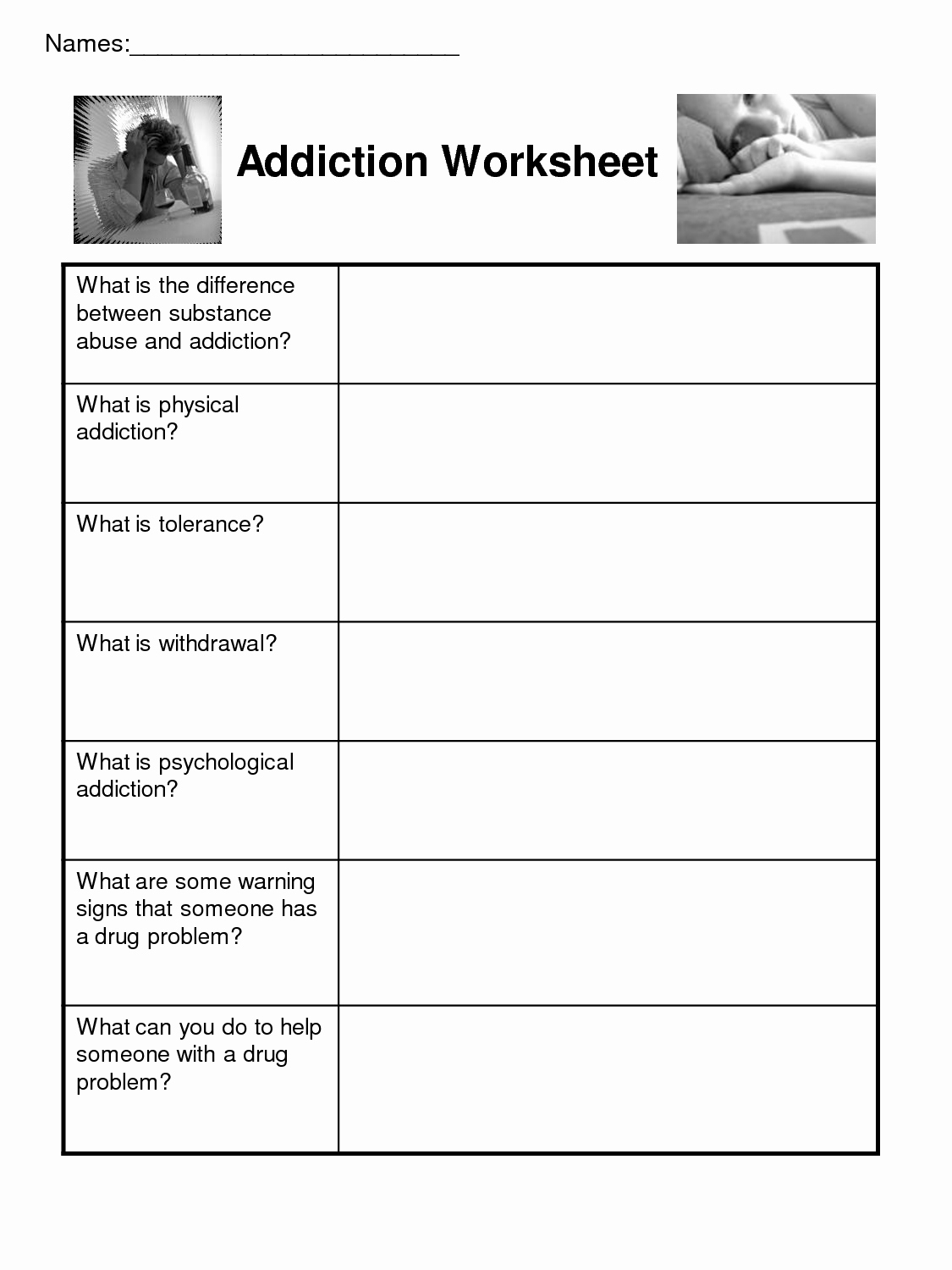 20 Addiction Recovery Plan Worksheet – Diocesisdemonteria Along With Addiction And Recovery Worksheets