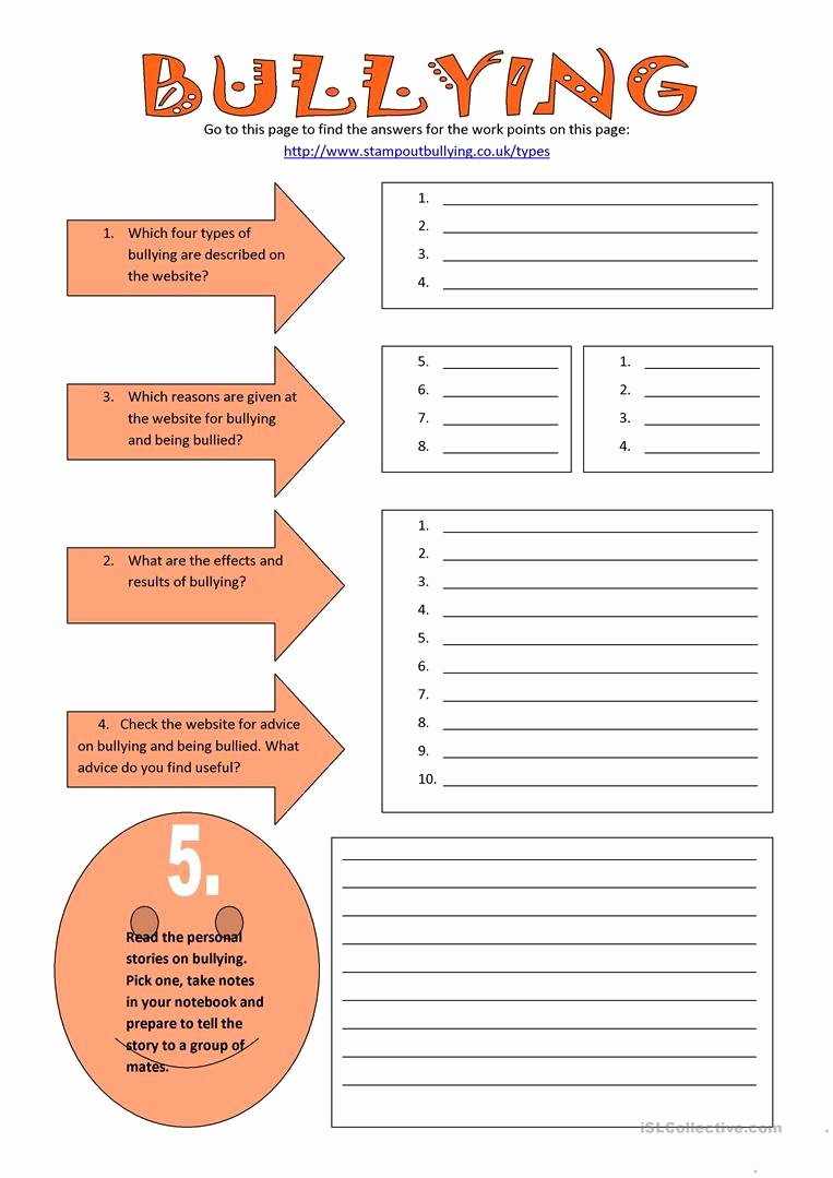 20 Anti Bullying Worksheets For Middle School – Diocesisdemonteria Or Free Bullying Worksheets