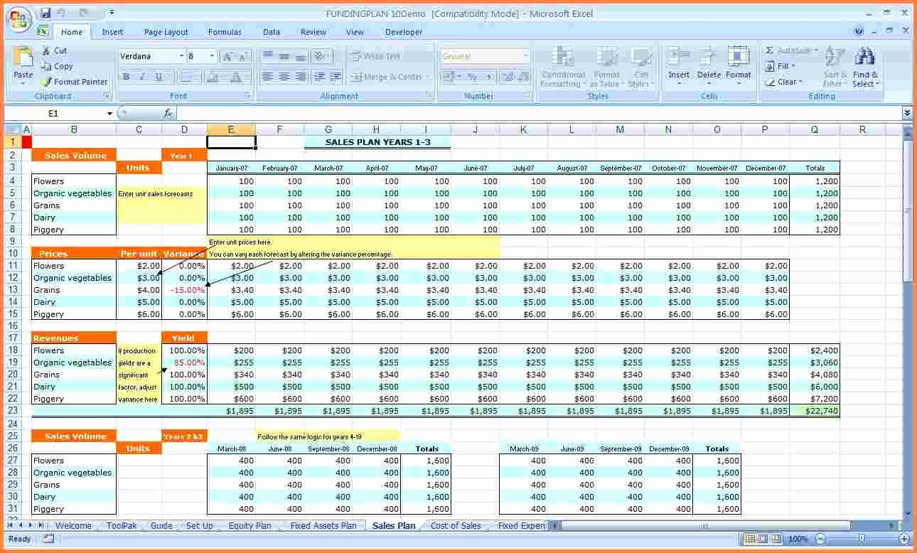 20 Template Business Plan Excel – Guiaubuntupt.org And Business Plan Spreadsheet Template