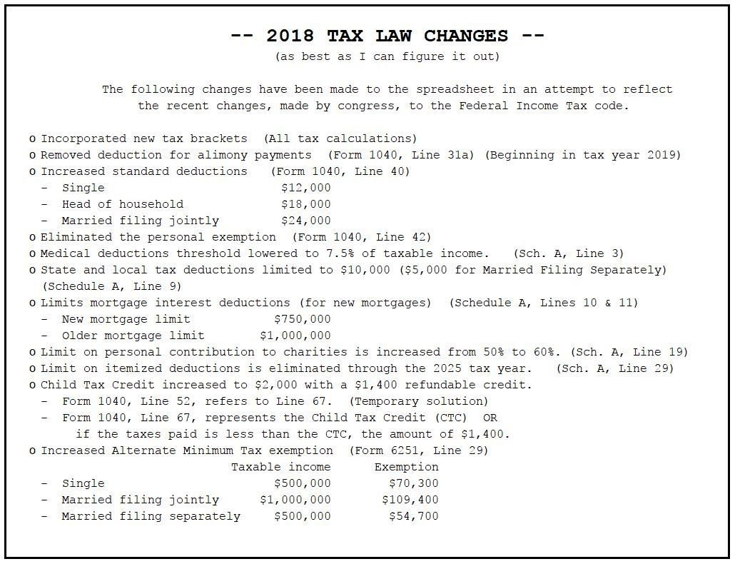 2018 Federal Income Tax Planner   Federal Income Tax Form 1040 ... With Regard To 1040 Es Spreadsheet