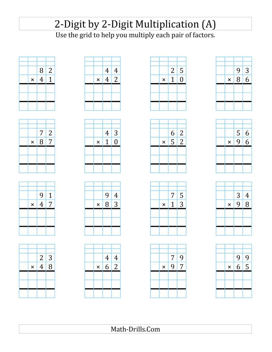 2Digit2Digit Multiplication With Grid Support A For Double Line Graph Worksheets Pdf