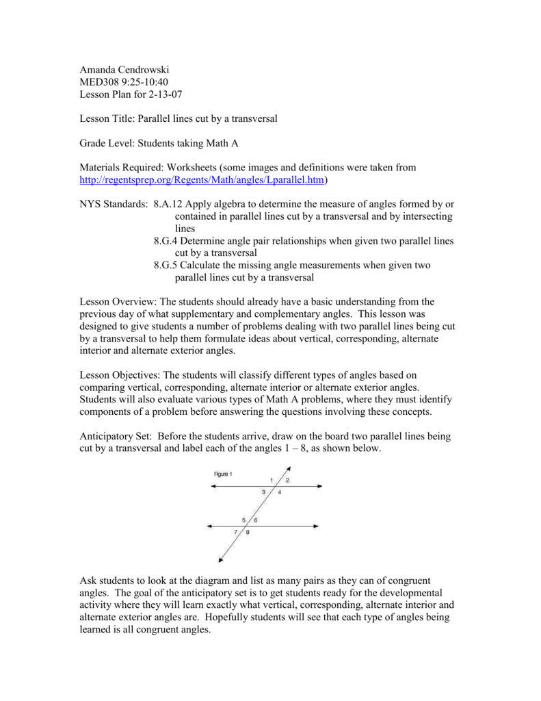 2Med308Lafayetteles Along With Parallel Lines Cut By A Transversal Worksheet Answer Key