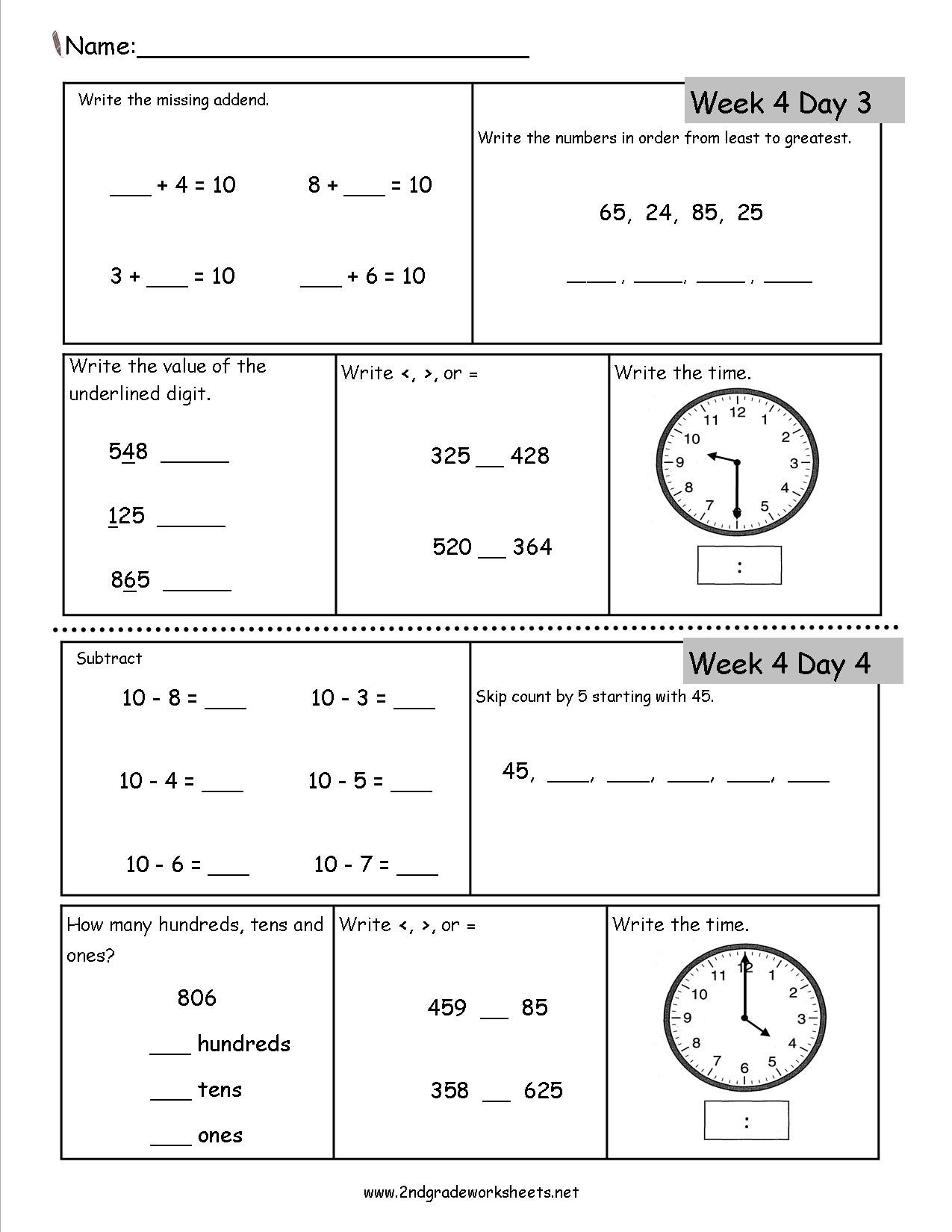 2Nd Grade Daily Math Worksheets Also 3Rd Grade Math Review Worksheets