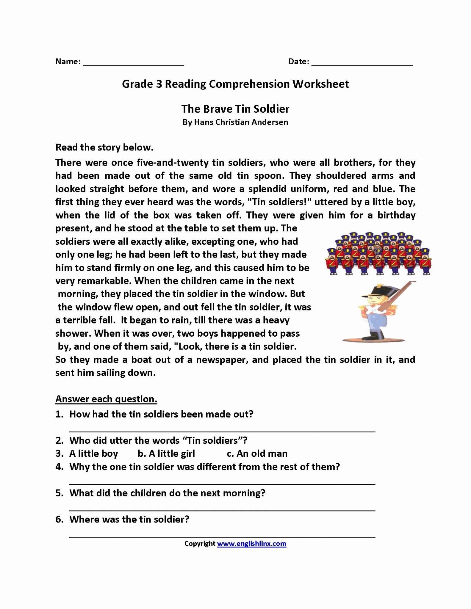 2Nd Grade Reading Comprehension Worksheets Pdf  Math Worksheet For Kids Within 3Rd Grade Reading Comprehension Worksheets Multiple Choice Pdf