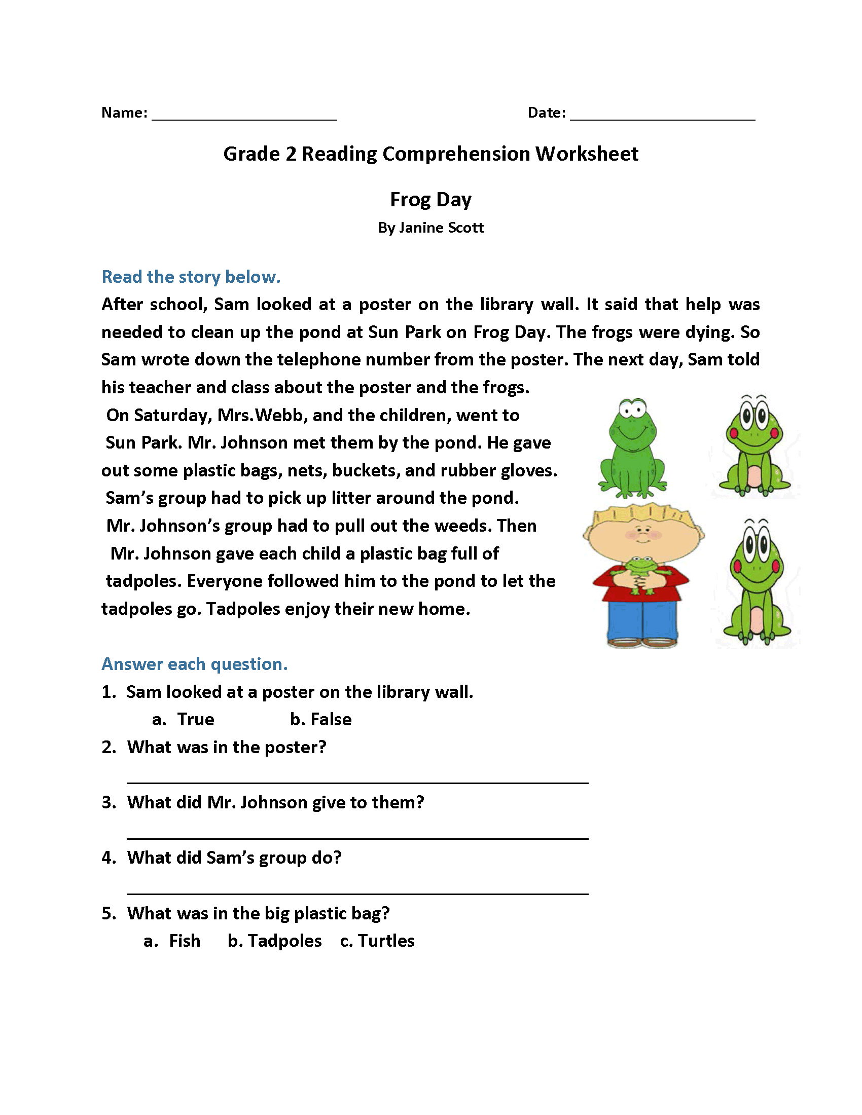 2Nd Grade Reading Worksheets  Best Coloring Pages For Kids Intended For Bible Reading Comprehension Worksheets