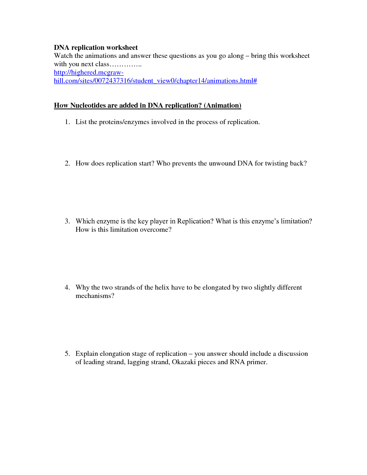 30 Dna Structure And Replication Answer Key Answer Replication Key Throughout Dna Structure And Replication Worksheet Answer Key