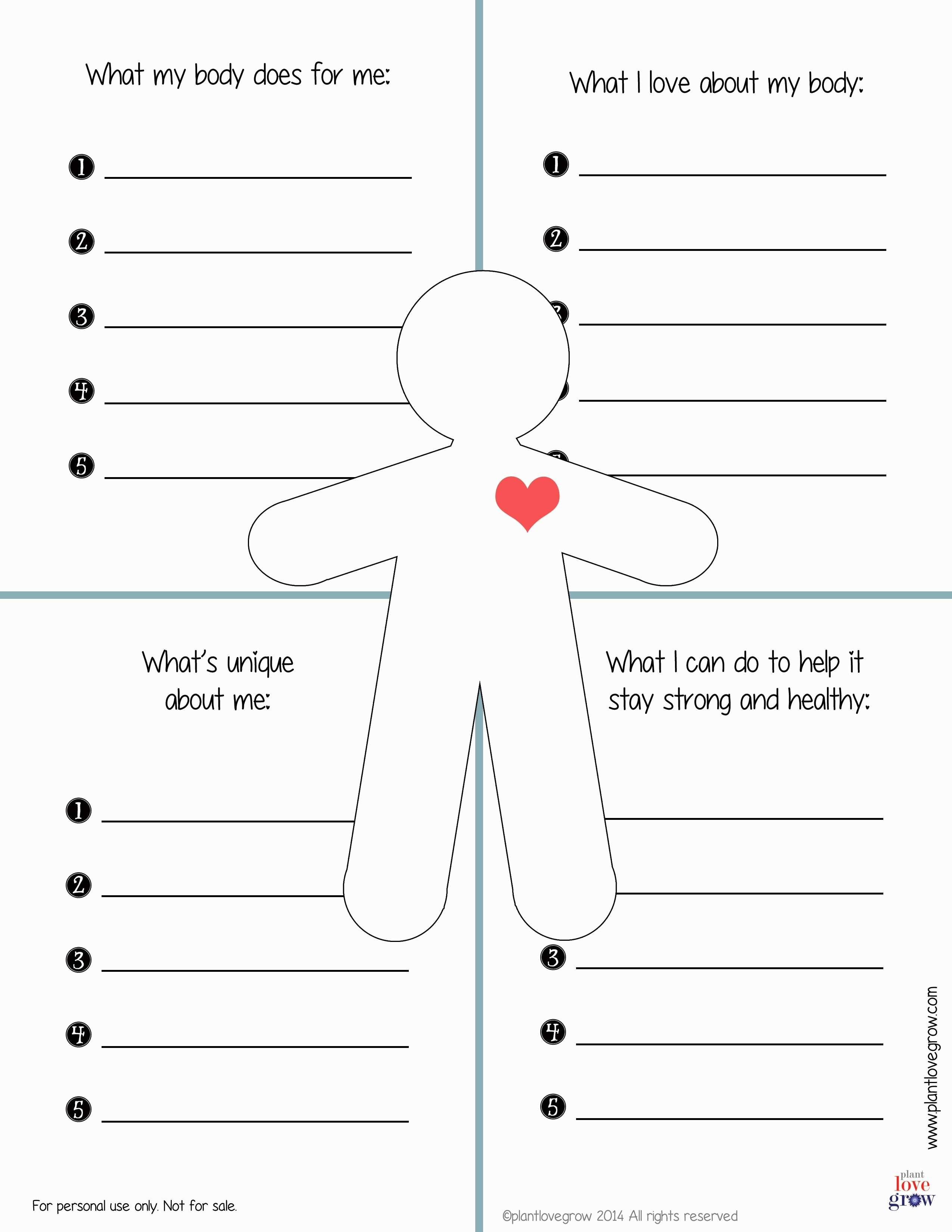 30 Self Esteem Worksheets To Print  Kittybabylove Intended For Self Care Worksheets For Adults