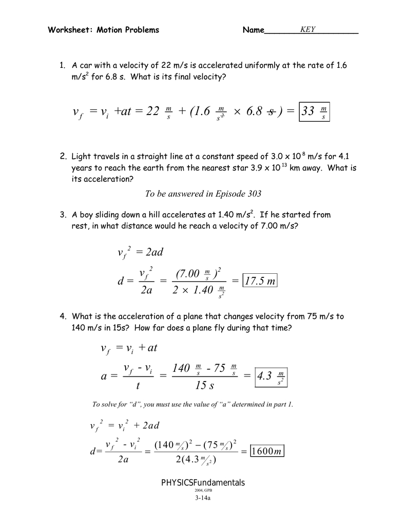 314Ab  Motion Problems Wkstkey Together With Worksheet Motion Problems Part 2 Answer Key
