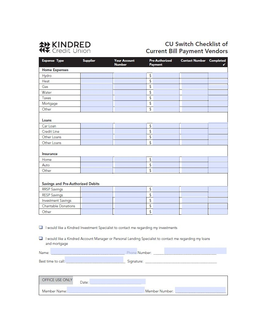 32 Free Bill Pay Checklists & Bill Calendars (Pdf, Word & Excel) Intended For Spreadsheet For Bills Free