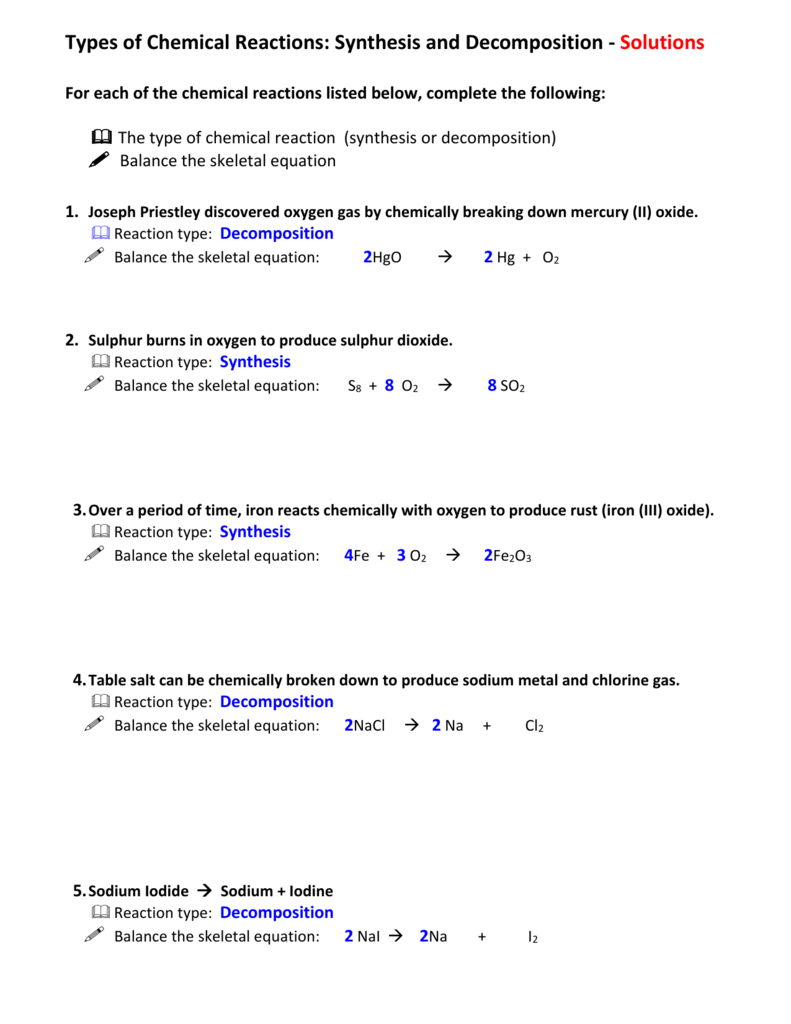 32Synthesis And Decomposition Worksheetanswers With Regard To 8 2 Types Of Chemical Reactions Worksheet Answers