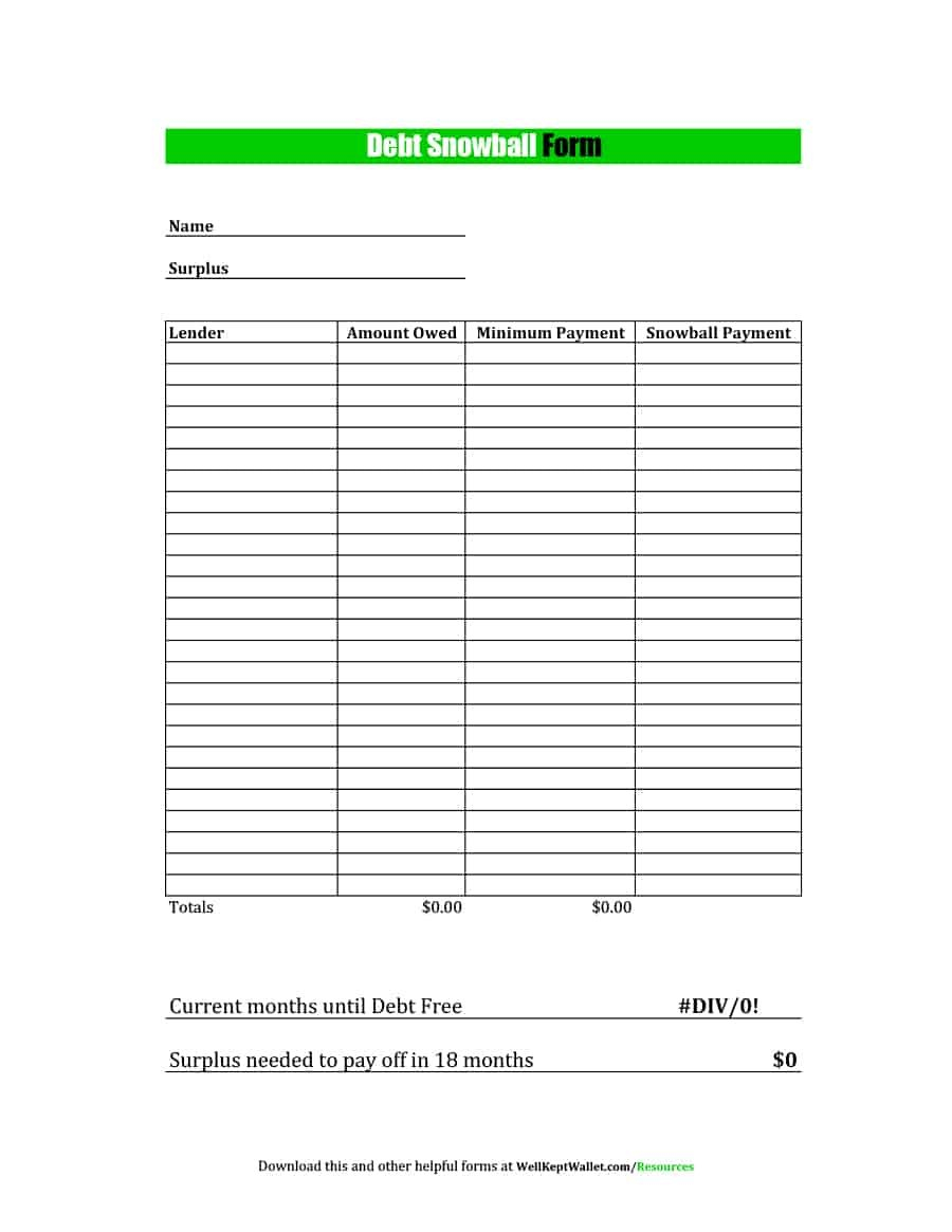 38 Debt Snowball Spreadsheets Forms  Calculators ❄❄❄ In Debt Elimination Worksheet