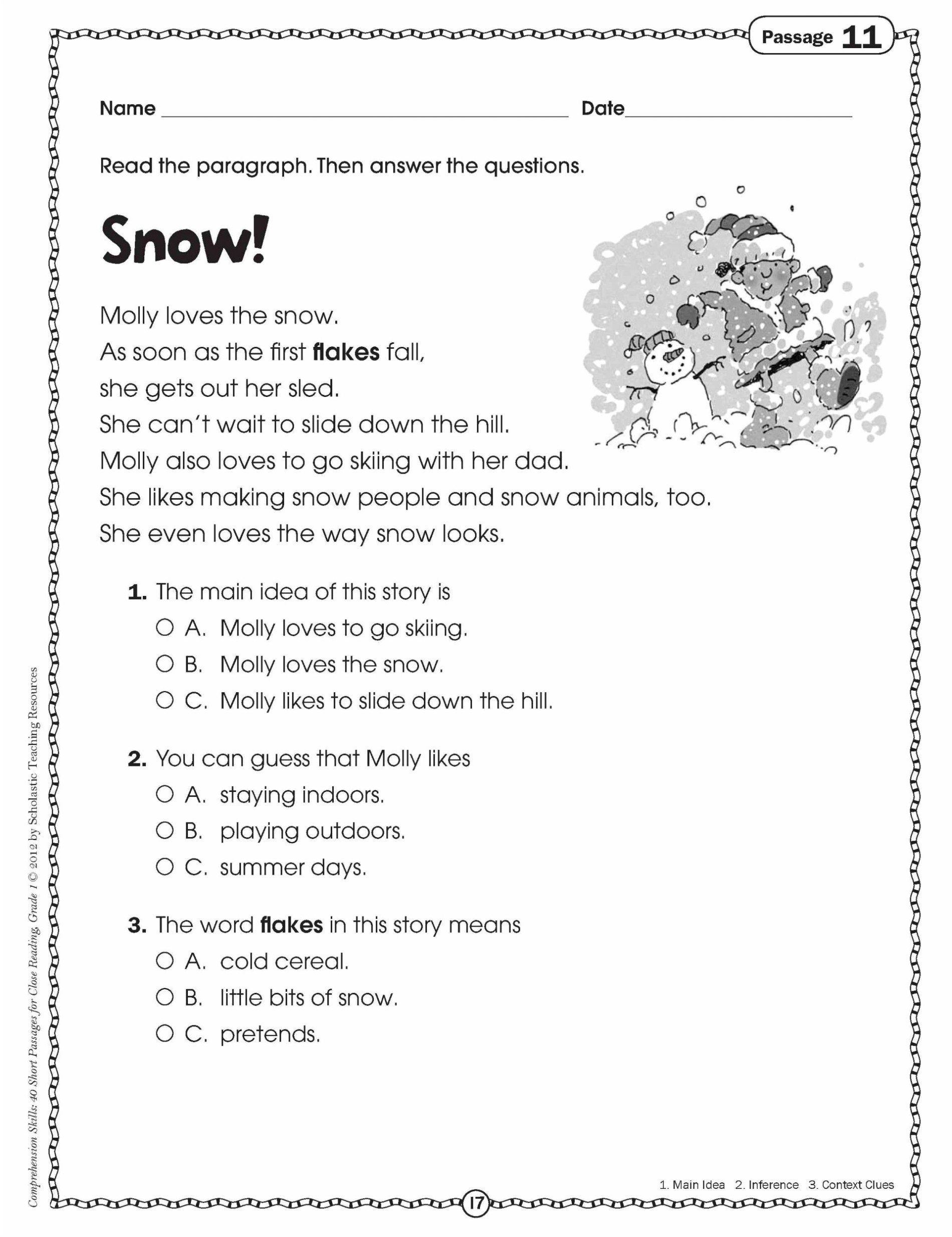 3Rd Grade Reading Comprehension Worksheets Multiple Choice For Free Throughout Context Clues Worksheets 3Rd Grade Multiple Choice