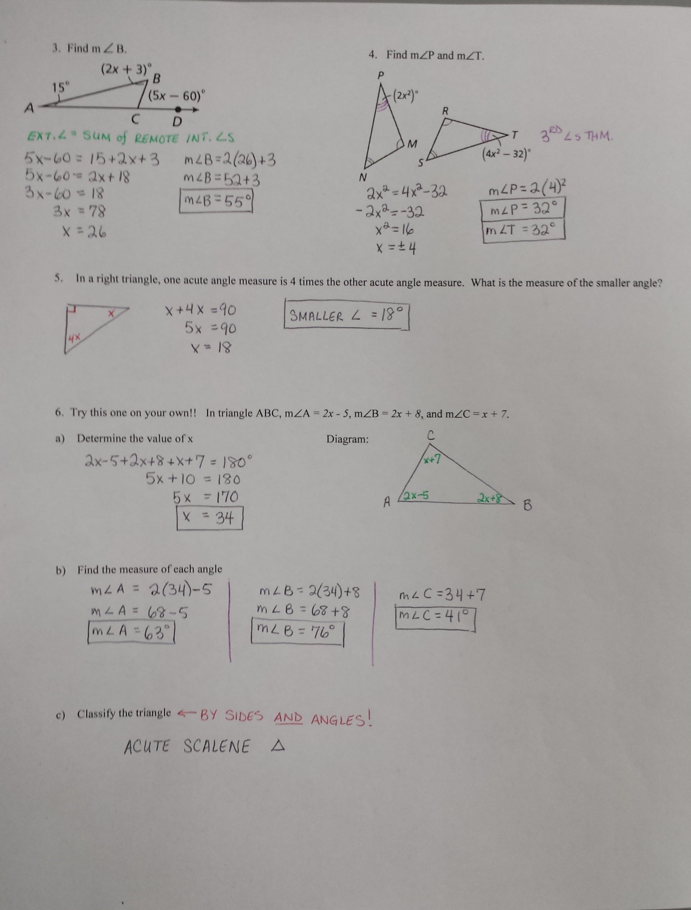 4 2 Practice Angles Of Triangles Worksheet Answers  Yooob Along With 4 2 Practice Angles Of Triangles Worksheet Answers