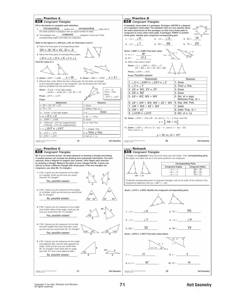4 3 Practice Congruent Triangles Worksheet Answers  Yooob Pertaining To Chapter 4 Congruent Triangles Worksheet Answers
