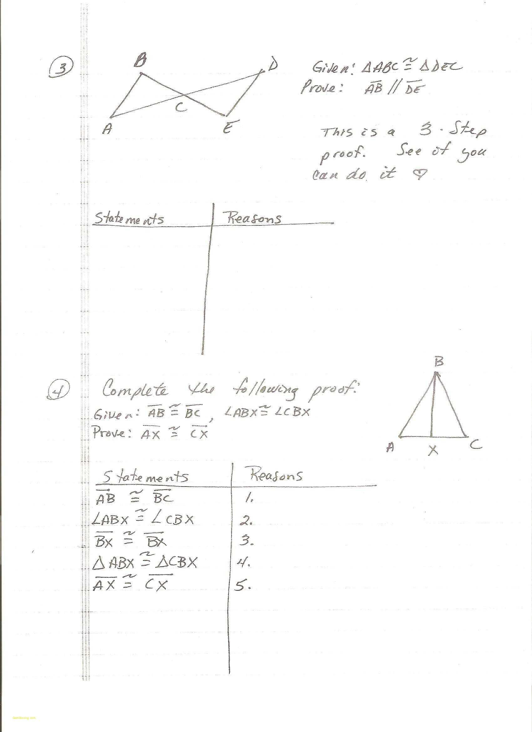 4 3 Practice Congruent Triangles Worksheet Answers  Yooob Throughout Proofs Practice Worksheet Answers