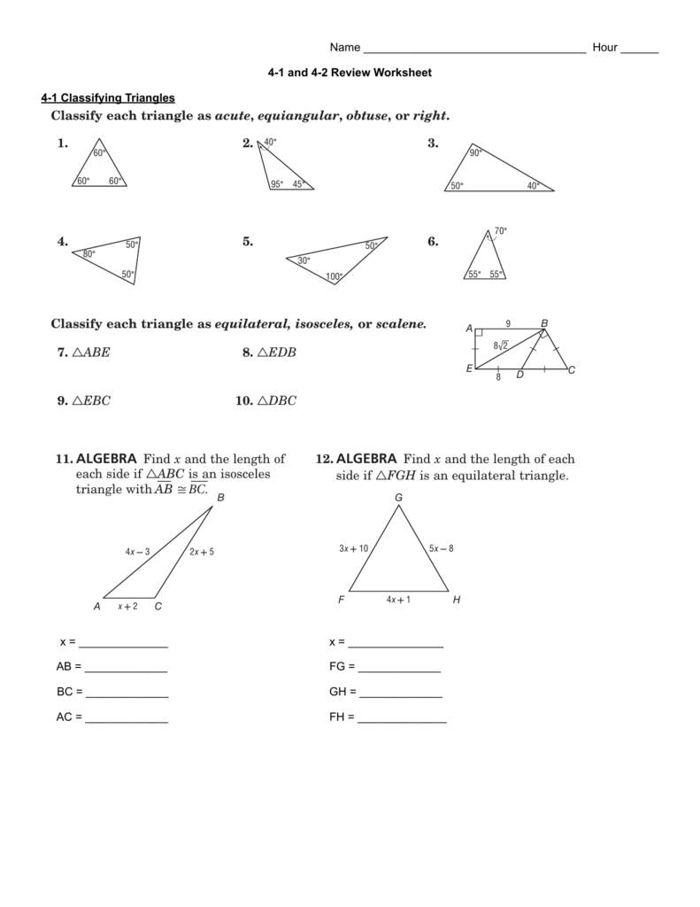 41 And 42 Review Worksheet Pertaining To 4 2 Practice Angles Of Triangles Worksheet Answers