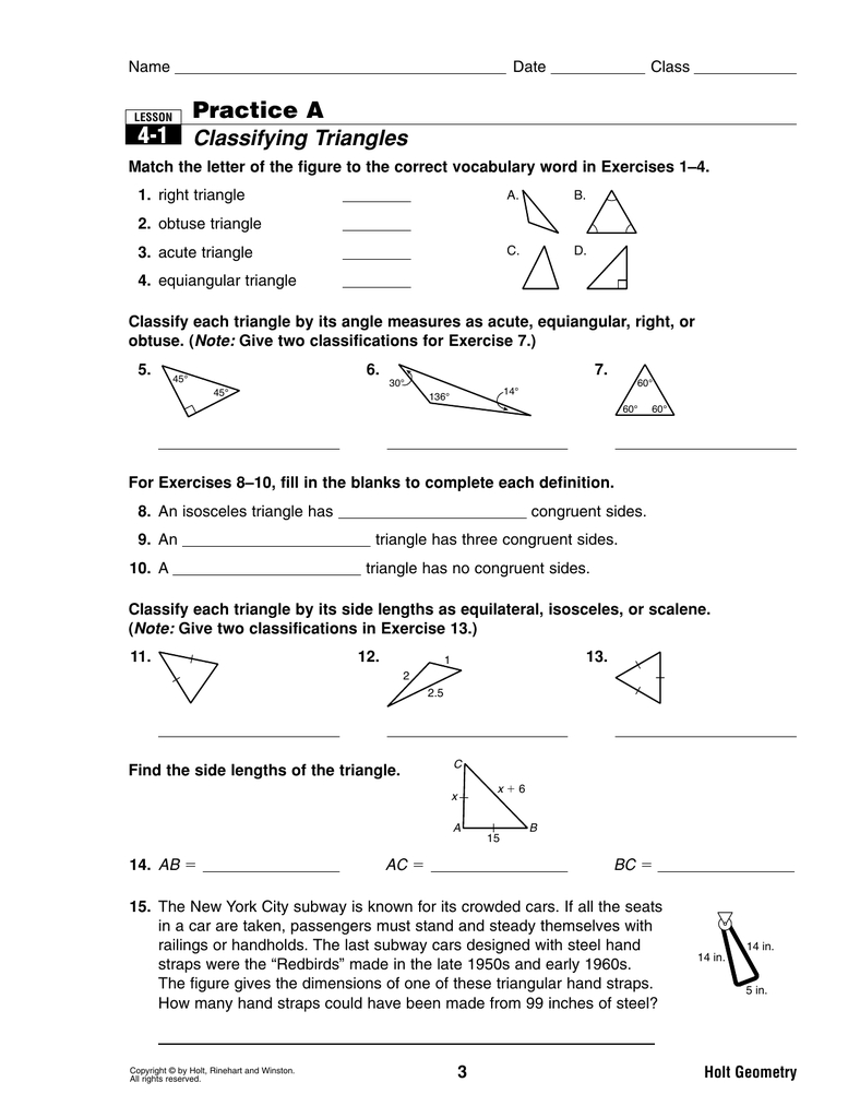 41 Practice A Classifying Triangles Along With Classifying Triangles Worksheet With Answer Key