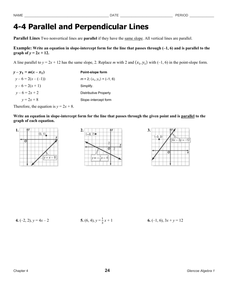 44Parallelandperpendicularlines Throughout Parallel And Perpendicular Lines Worksheet Algebra 1 Answers