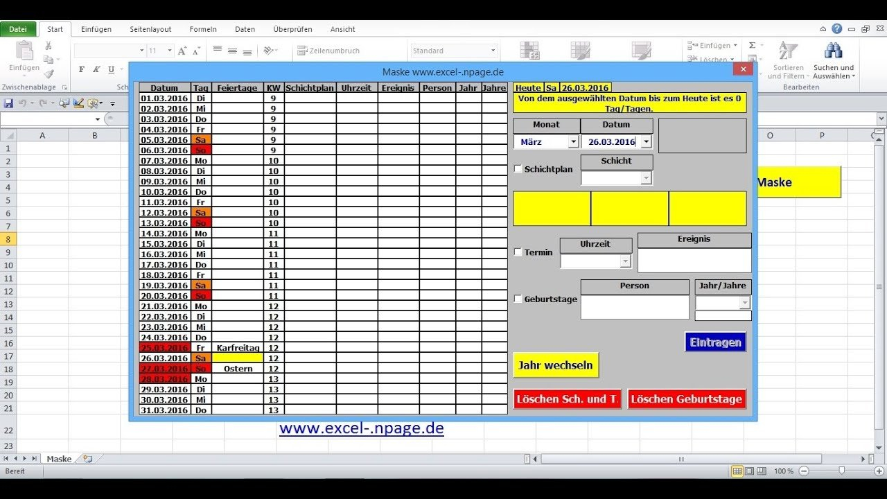 46 Terminkalender In Excel Selber Erstellen. Tabellenblätter ... Throughout Excel Spreadsheet Erstellen