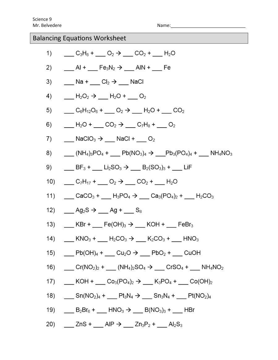 49 Balancing Chemical Equations Worksheets With Answers Along With Balancing Chemical Equations Worksheet Grade 10