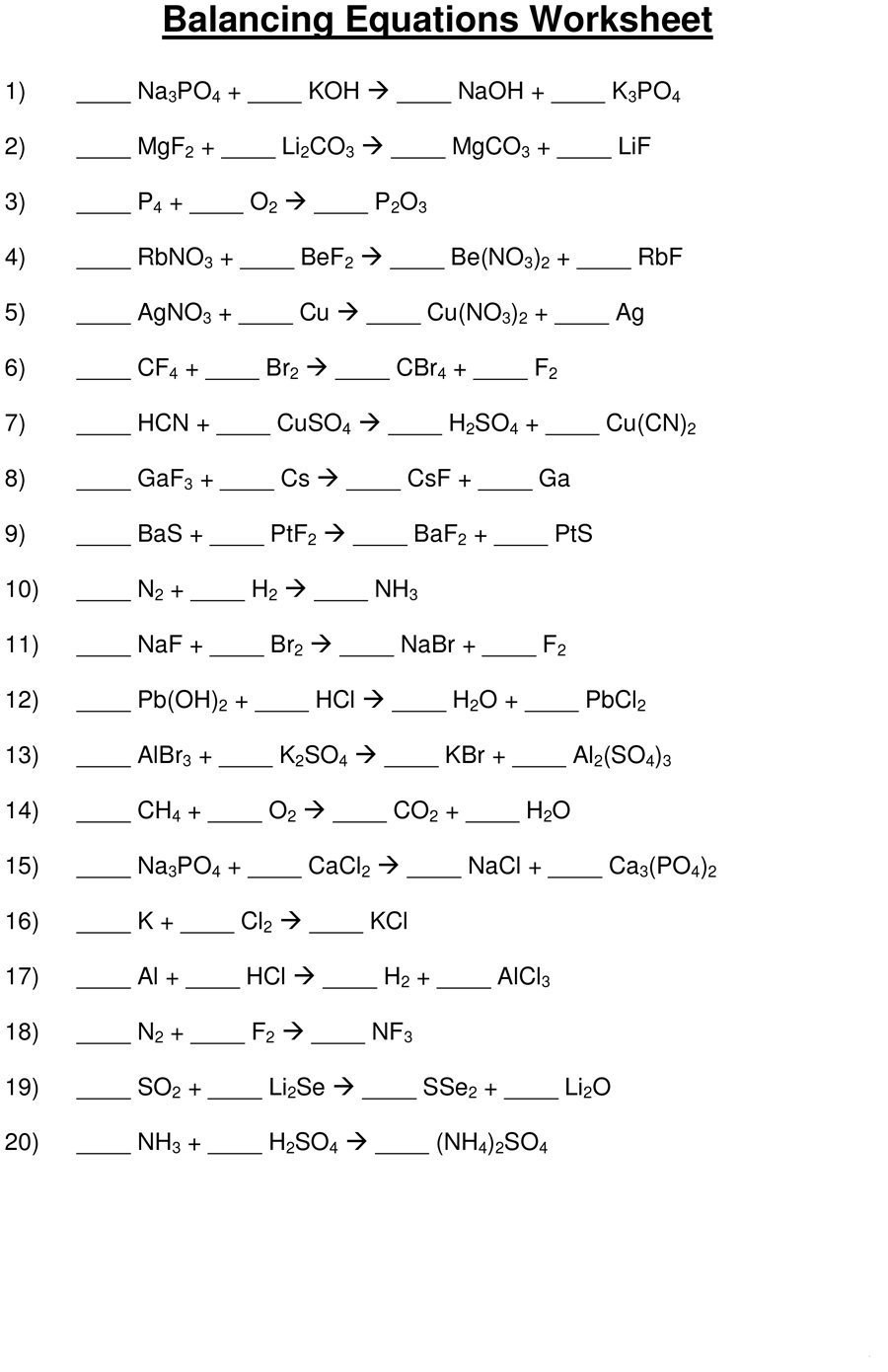 49 Balancing Chemical Equations Worksheets With Answers For Balancing Chemical Equations Worksheet Grade 10