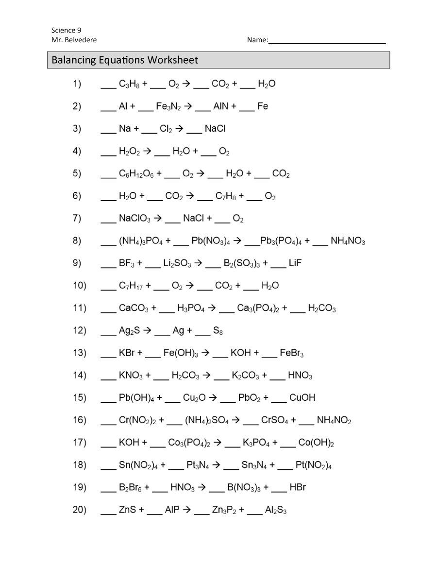 49 Balancing Chemical Equations Worksheets With Answers Inside Balancing Chemical Equations Worksheet Pdf