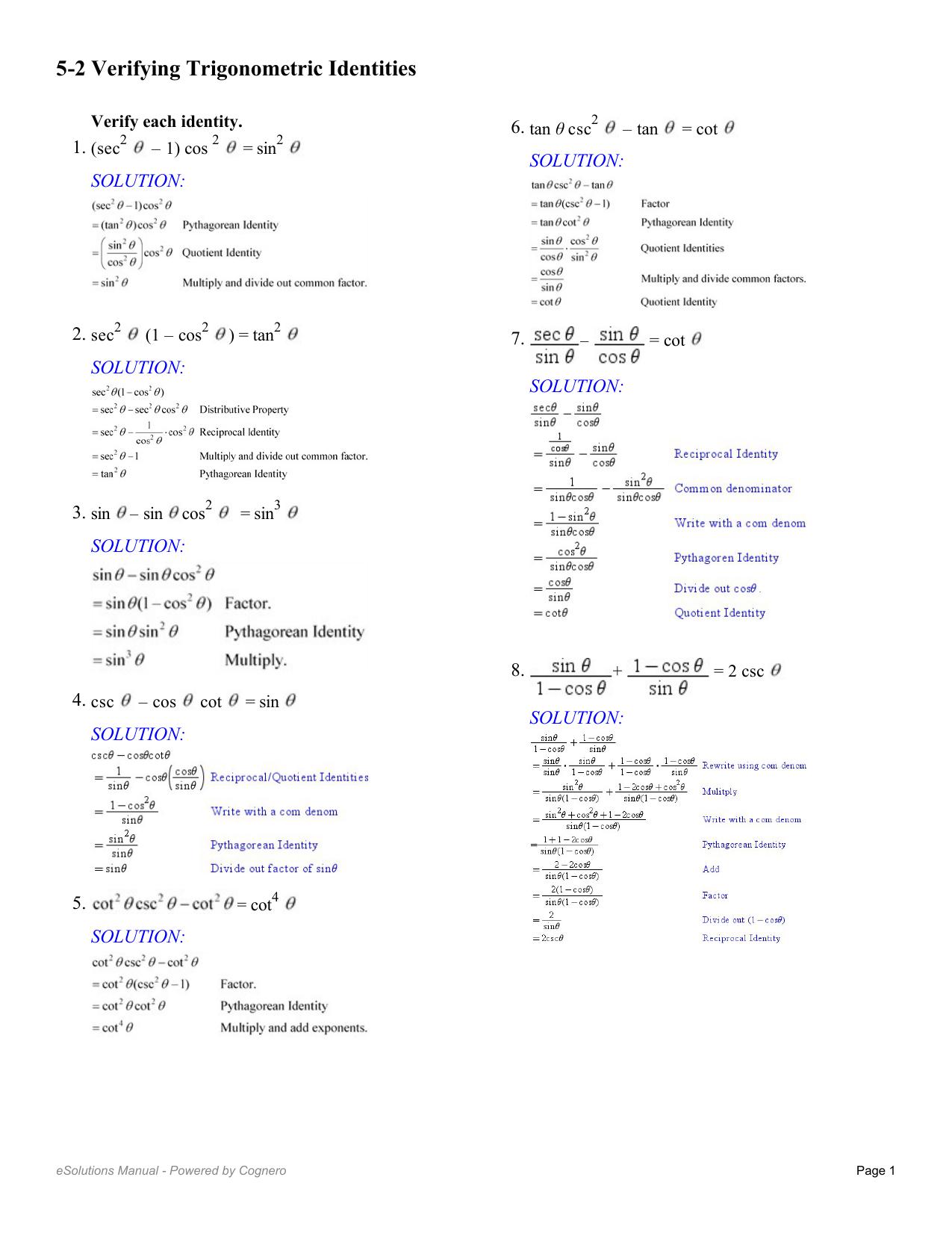 52 Verifying Trigonometric Identities Or Proving Trigonometric Identities Worksheet With Answers