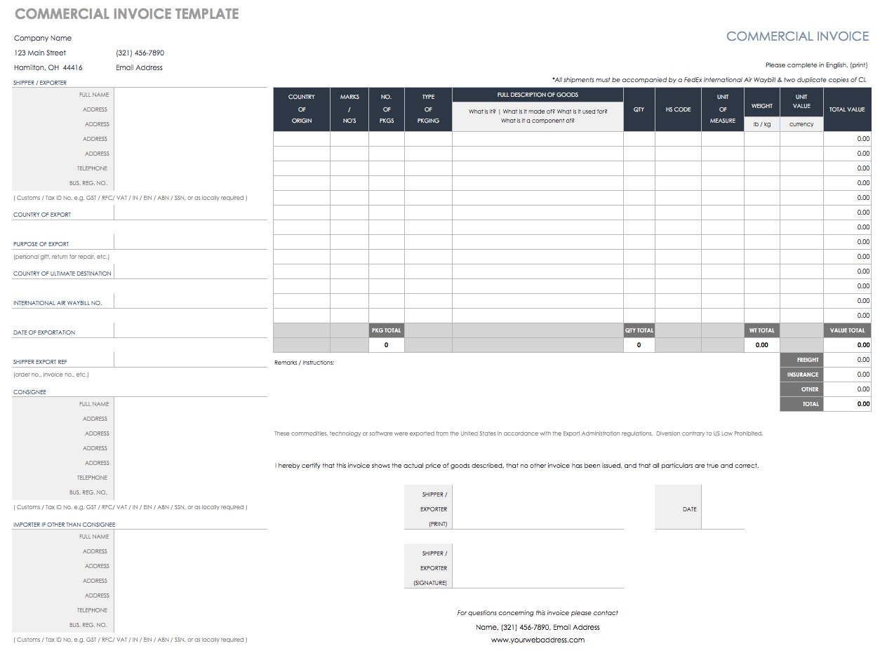 55 Free Invoice Templates   Smartsheet Also Excel Spreadsheet Invoice Template