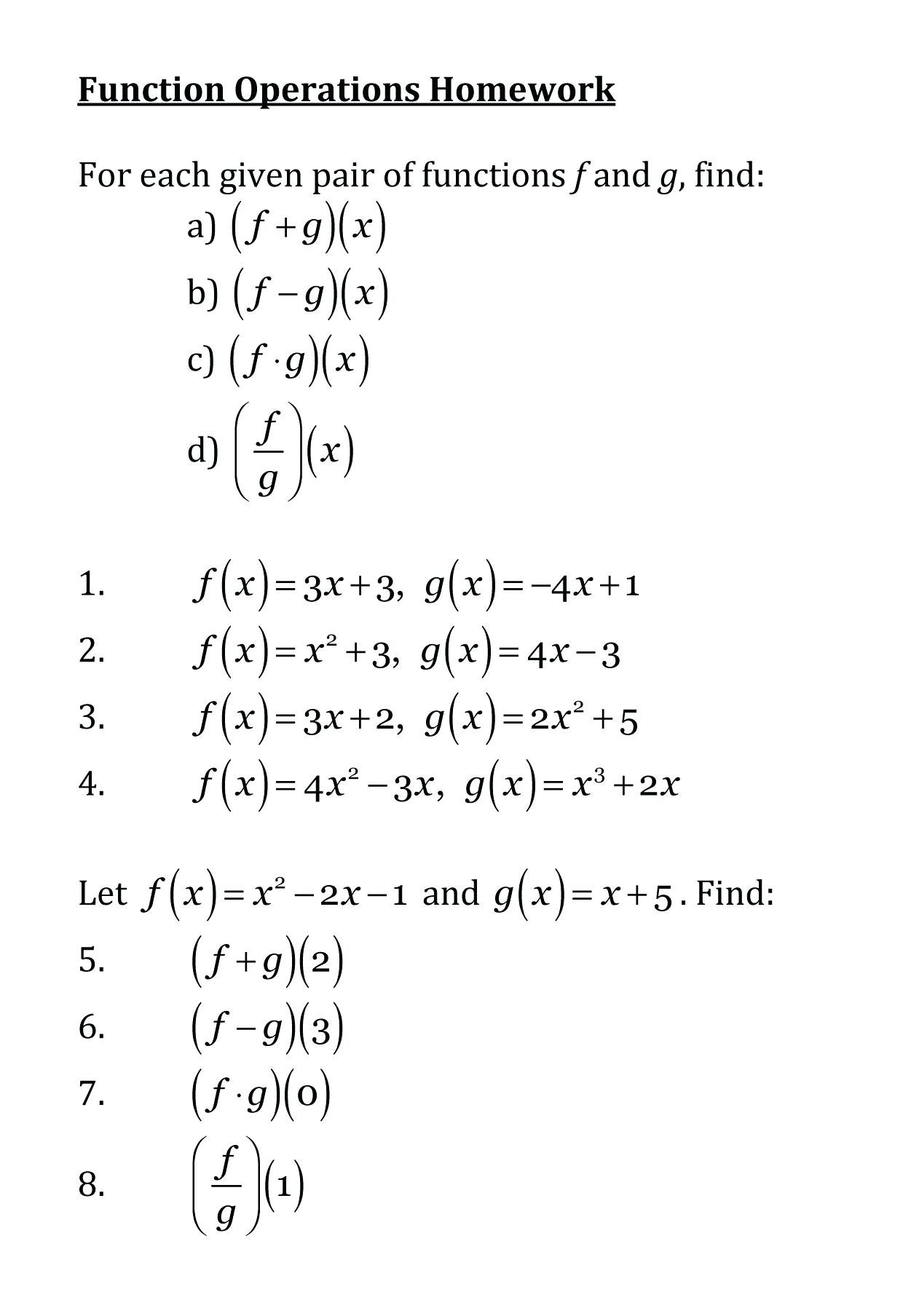 6 6 Function Operations Math Online Composition Of Functions Math Intended For Composite Function Worksheet Answers