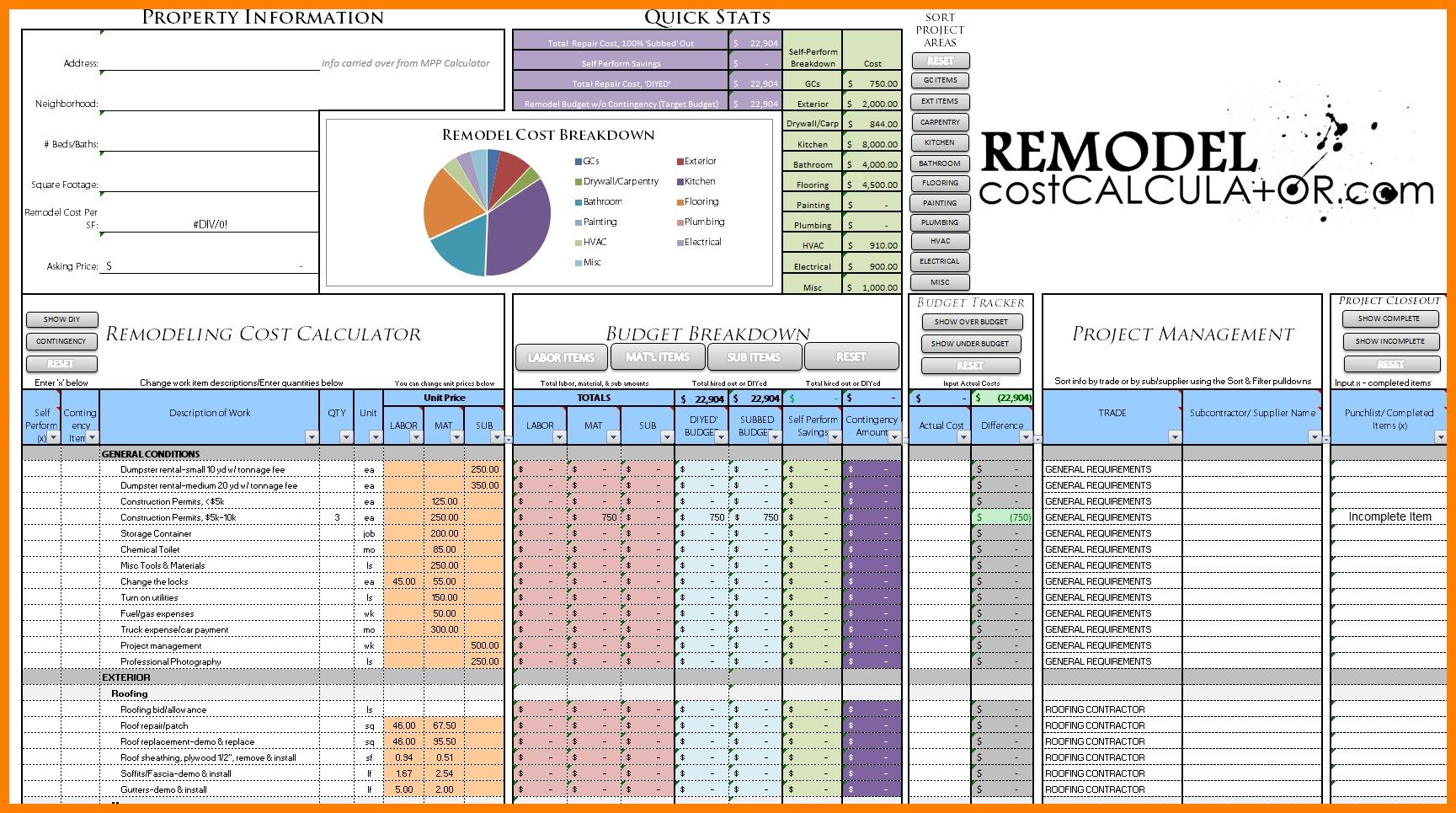 6+ Home Renovation Budget Spreadsheet Template   Credit Spreadsheet Intended For Renovation Spreadsheet Template