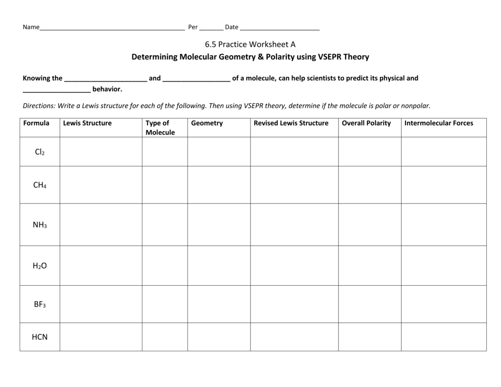 65 Practice Worksheet A Molecular Geometry  Polarity In Lewis Structure And Molecular Geometry Worksheet