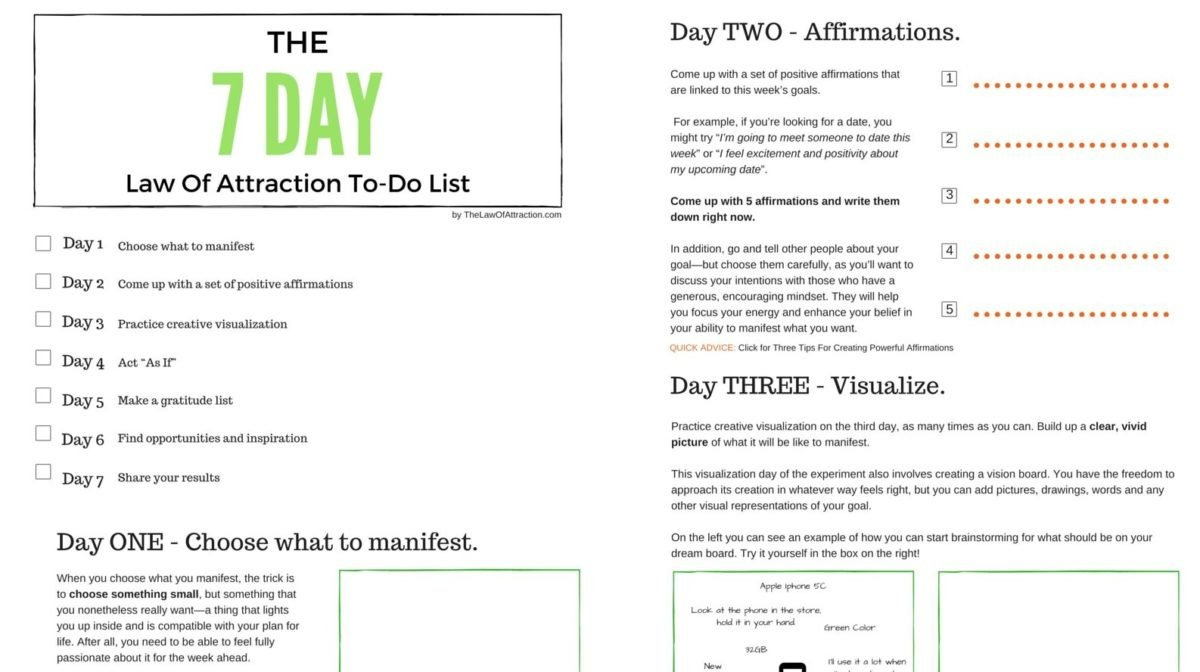 7 Free Law Of Attraction Pdf Worksheets To Download  Print Within Law Of Attraction Worksheets