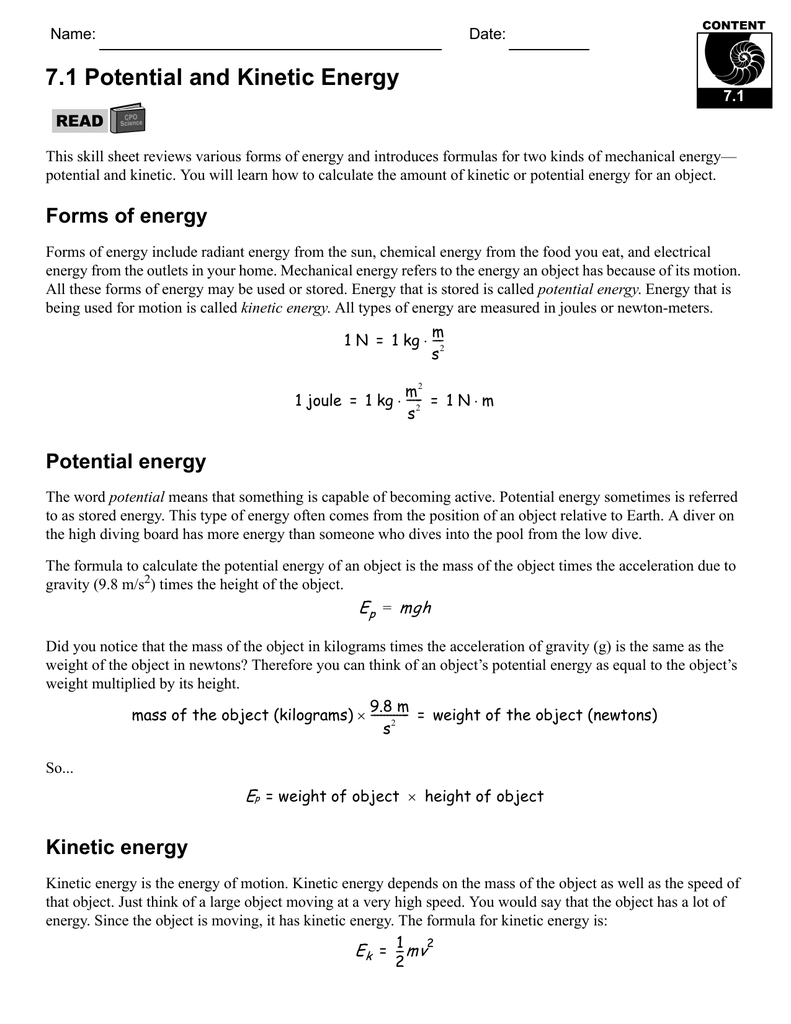 71 Potential And Kinetic Energy With Regard To Potential And Kinetic Energy Worksheet Answer Key