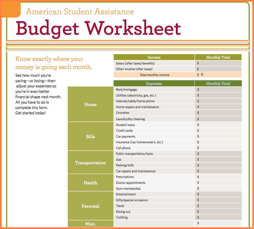8 Simple Budget Worksheet  Leave Latter Also Student Budget Worksheet