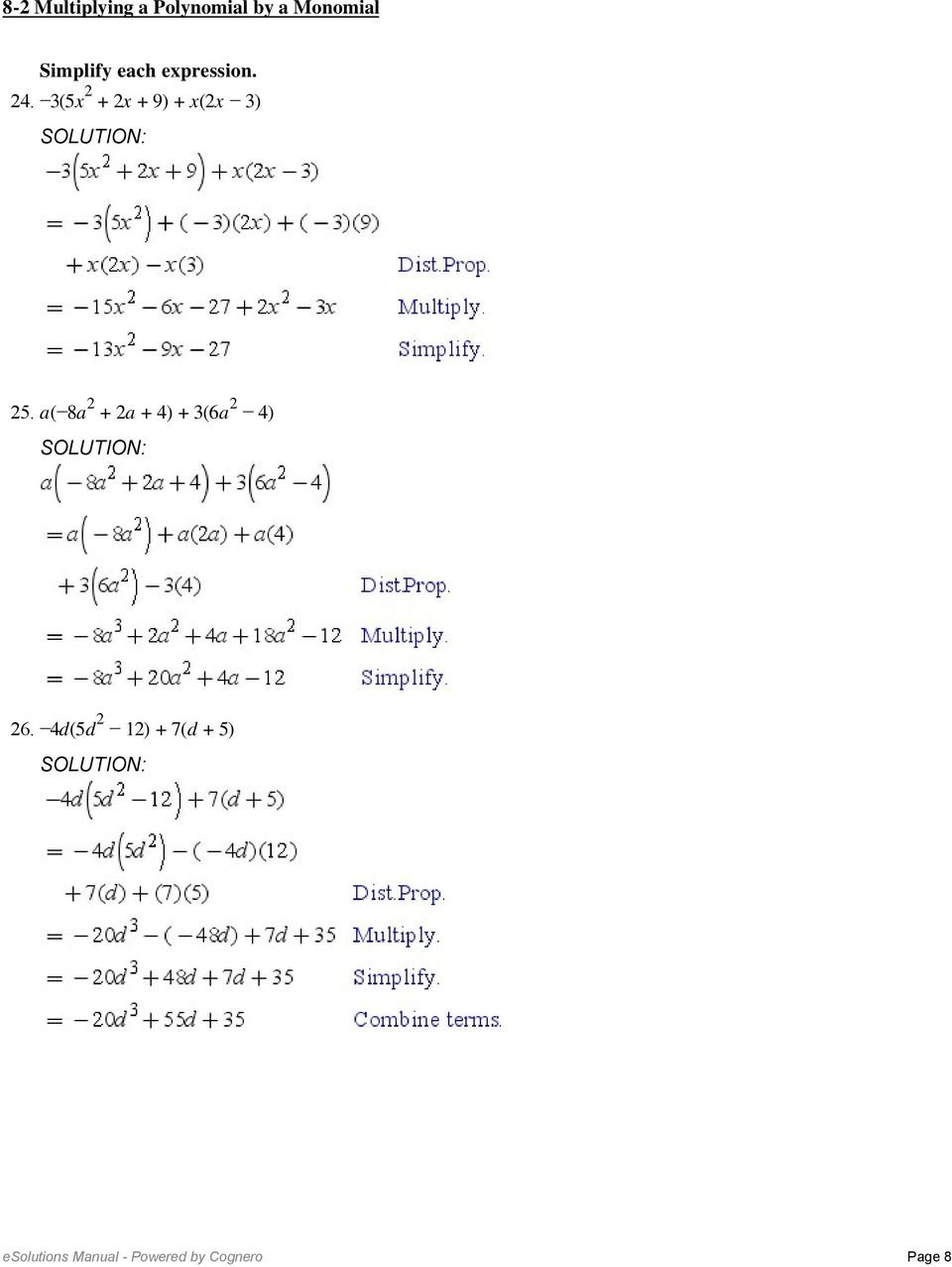 82 Multiplying A Polynomiala Monomial Find Each Product 1 5W Pertaining To Multiplying Polynomials Worksheet Algebra 2