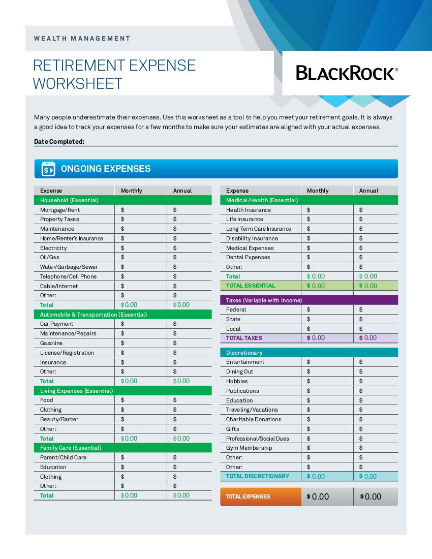9 Expense Worksheet Examples In Pdf  Examples Pertaining To Blackrock Retirement Expense Worksheet