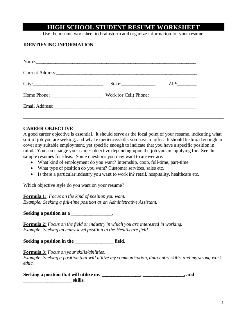9 Resume Worksheet Examples In Pdf  Examples Together With Resume Worksheet For High School Students